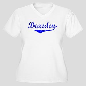 Braeden Vintage (Blue) Women's Plus Size V-Neck T-