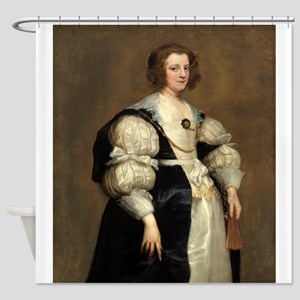 Lady with a Fan by Sir Anthony van Dyck Shower Cur