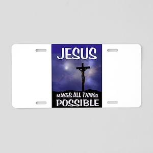 JESUS POSSIBLE Aluminum License Plate