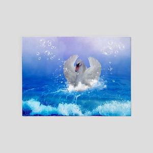 Wonderful swimming swan in a fantasy world 5'x7'Ar