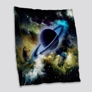 The universe with planet and stars Burlap Throw Pi