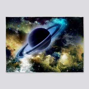 The universe with planet and stars 5'x7'Area Rug