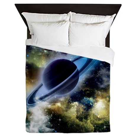 The universe with planet and stars Queen Duvet