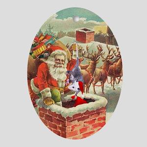 Santa's Helper Possum Oval Ornament