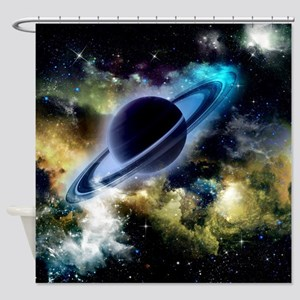 The universe with planet and stars Shower Curtain