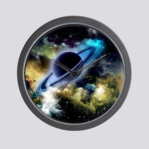The universe with planet and stars Wall Clock