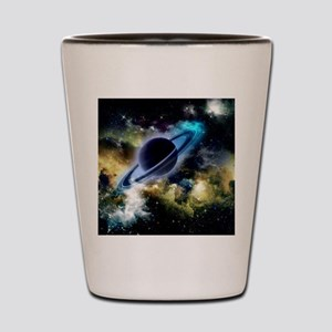 The universe with planet and stars Shot Glass