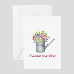 Floral Bouquet Watering Can Greeting Cards