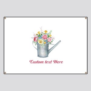 Floral Bouquet Watering Can Banner