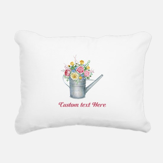 Floral Bouquet Watering Can Rectangular Canvas Pil