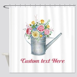 Floral Bouquet Watering Can Shower Curtain
