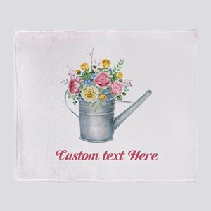 Floral Bouquet Watering Can Throw Blanket