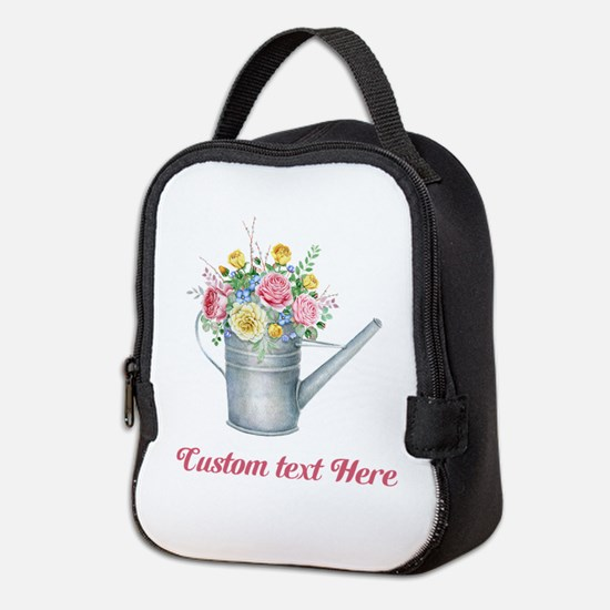 Floral Bouquet Watering Can Neoprene Lunch Bag