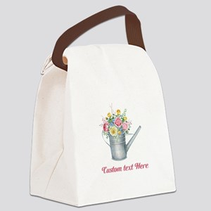 Floral Bouquet Watering Can Canvas Lunch Bag