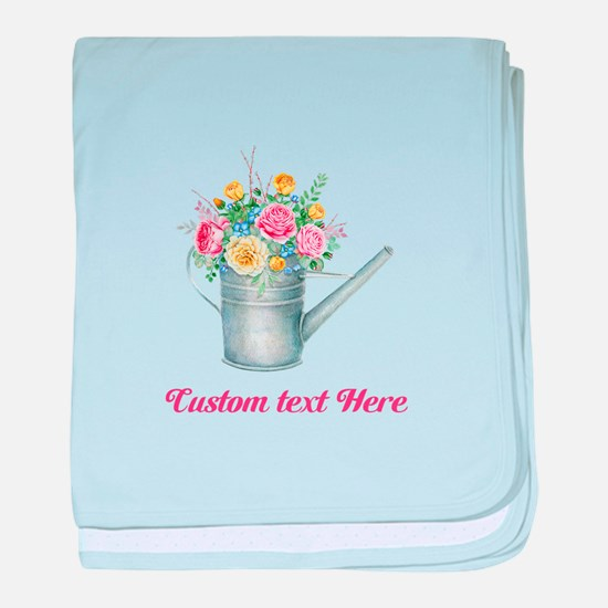 Floral Bouquet Watering Can baby blanket