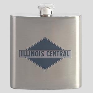 Historic diamond logo illinois central train Flask