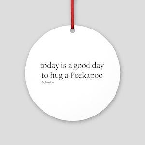 Hug a Peekapoo Ornament (Round)