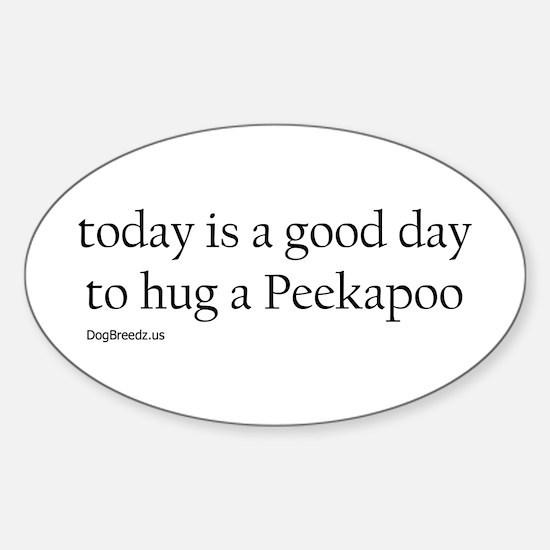 Hug a Peekapoo Oval Decal