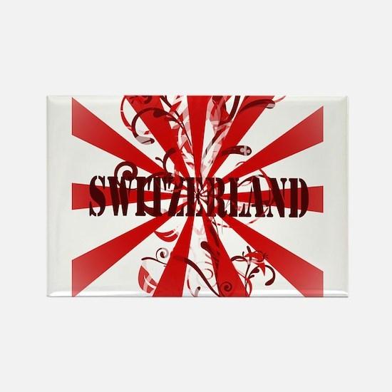 Switzerland vintage red Rectangle Magnet (10 pack)