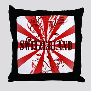 Switzerland vintage red Throw Pillow