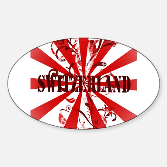 Switzerland vintage red Oval Decal