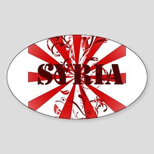 Syria vintage red Oval Sticker