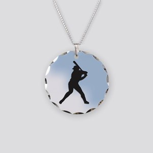 Batter Up Necklace Circle Charm