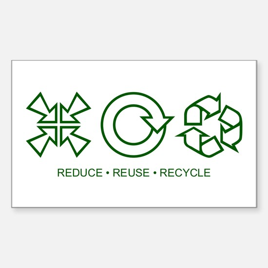 Reduce Reuse Recycle Rectangle Decal