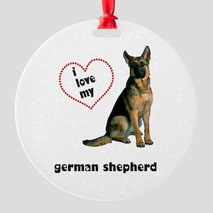 German Shepherd Love Round Ornament