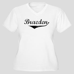 Braeden Vintage (Black) Women's Plus Size V-Neck T