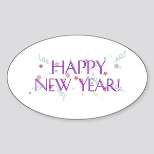 New Year Confetti Oval Sticker