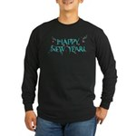 New Year Confetti Long Sleeve Dark T-Shirt