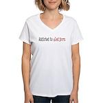 Addicted to sled porn. Women's V-Neck T-Shirt