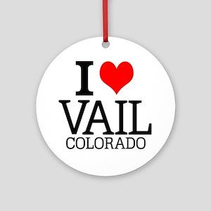 I Love Vail, Colorado Round Ornament