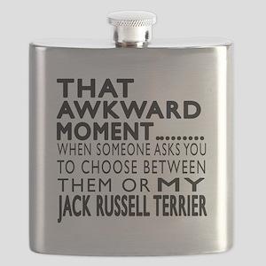 Awkward Jack Russell Terrier Dog Designs Flask