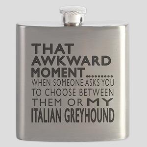 Awkward Italian Greyhound Dog Designs Flask