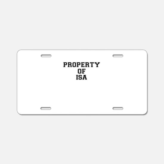 Property of ISA Aluminum License Plate