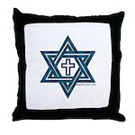 Star Of David and Cross Throw Pillow