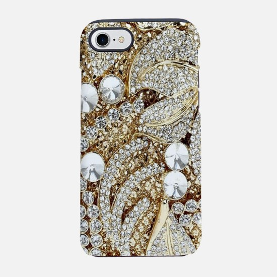 floral champagne gold rhines iPhone 8/7 Tough Case