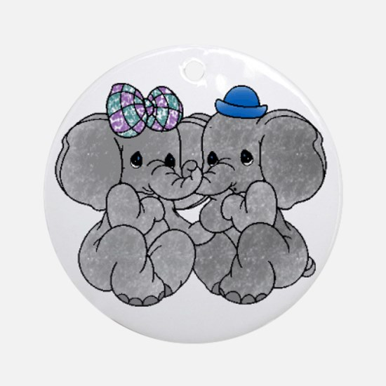 Elephants in Love Ornament (Round)