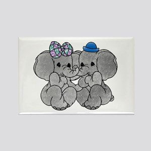 Elephants in Love Rectangle Magnet