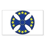 European Union Biker Cross Rectangle Sticker