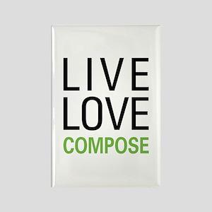 Live Love Compose Rectangle Magnet