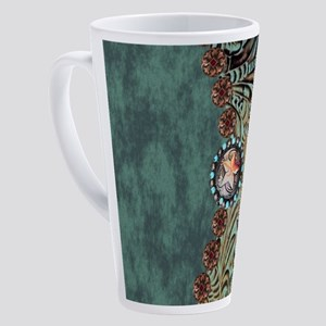 Country Western turquoise leather 17 oz Latte Mug