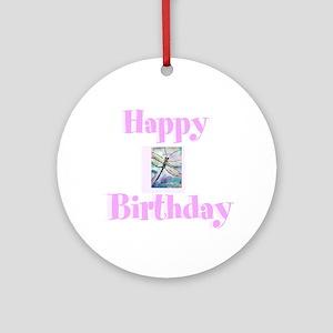Happy birthday, dragonfly Round Ornament