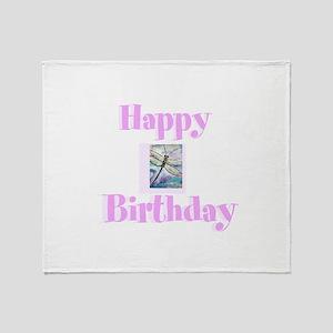 Happy birthday, dragonfly Throw Blanket
