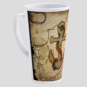 seashells nautical map vintage anc 17 oz Latte Mug