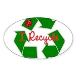 I Recycle Sticker (Oval)