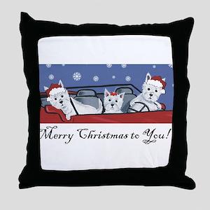 Merry Christmas Westies Throw Pillow