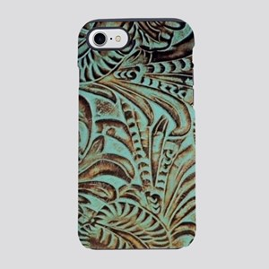 Rustic teal Western leather iPhone 8/7 Tough Case